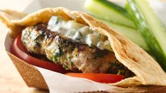 Greek Turkey Burgers with Minted Cucumber Sauce - These turkey burgers have a green twist with the addition of Green Giant® frozen chopped spinach--a perfect flavor combination with cucumber-yogurt sauce! Sauce Recipes, Cooking Recipes, Whole30 Recipes, Burger Recipes, Greek Recipes, Cooking Ideas, Yummy Recipes, Recipies, Cucumber Yogurt Sauce