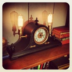Beaulieu Designs - Steam punk mantle clock lamp. #steampunk #clock #mantleclock #lamp #light #beaulieudesigns #vintage #antique #upcycle