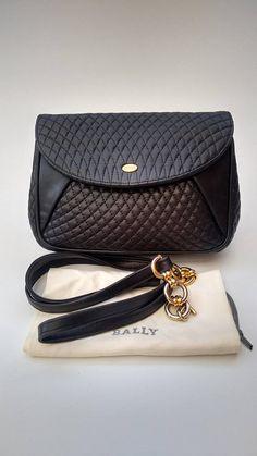 BALLY Vintage Black Quilted Leather Shoulder Bag. Authentic designer purse 4dcac362233bc