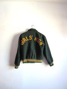 Vintage Forest Green Girl's High Varsity Jacket