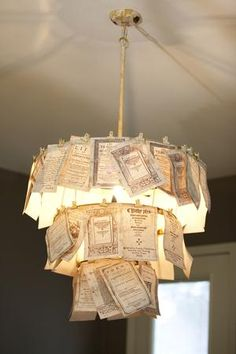 The Junk Gypsies used pages from an old book to make this beautiful chandelier. See more images of this makeover here >> http://www.greatamericancountry.com/shows/junk-gypsies/trash-to-treasure-projects-from-the-junk-gypsies-pictures?soc=pinterest