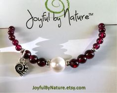 New! Garnet & pearl bracelet &more. #Valentine ❤️SALE on now! https://www.etsy.com/shop/JoyfulByNature?section_id=18387612&ref=shopsection_leftnav_1 #etsymntt #jewelry #womansgift