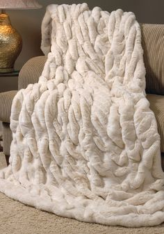 Ivory Mink Faux Fur Couture Throw Blankets - Home and Garden Design Ideas