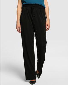 Pantalón amplio de mujer talla grande Couchel en color negro