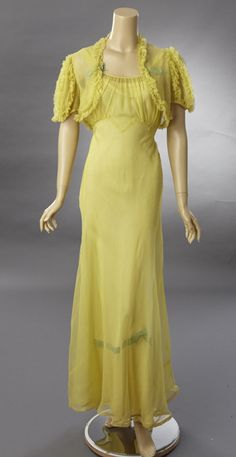 Sheer Sunny Yellow Tea or Evening Gown with Matching Bolero