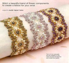 Crochet and arts: beads Jewelry Stores, Diy Jewelry, Beaded Jewelry, Jewelry Bracelets, Bangles, Pearl Bracelets, Jewellery, Beading Tutorials, Beading Patterns