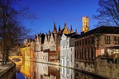 Bruges Canal At Night Print by Barry O Carroll Bruges, Prague, Beverly Hills, Belgium, Fine Art America, Mansions, Night, House Styles, Building