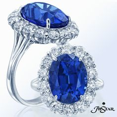 Style 2307 Two views of the exquisite platinum ring featuring a 8.26ct Oval Tanzanite center encircled with 14 perfectly-matched round diamonds