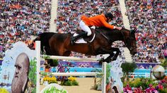 Jur Vrieling of Netherlands riding Bubalu competes in the third qualifier of Individual Jumping on Day 10 of the London 2012 Olympic Games at Greenwich Park