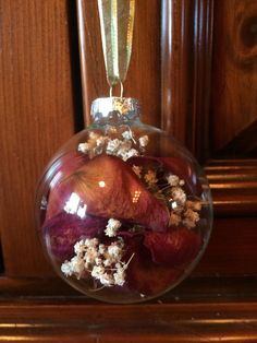 Dried Baby's Breath and Rose Petal Ornament by TheFancyMoose