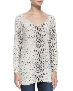 Brooklyn V-Neck Leopard-Print Sweater by Joie at Neiman Marcus.