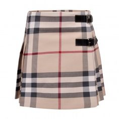 Burberry Check skirt with buckles