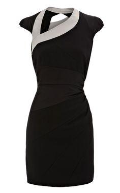 Karen Millen Asymmetric body con dress black - suit-dresses.com - $88.61