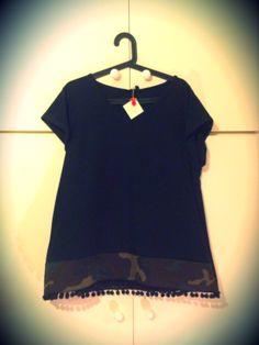 Black military t-shirt with black ponpon trim - square cut