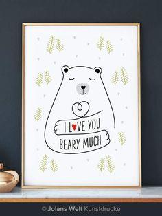 Digitaldruck - Valentinstag-Geschenk-Bear Kunstdruck - ein Designerstück von jolanswelt bei DaWanda