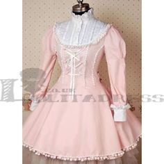 Classic Long Sleeves Bandage Classic Pink and White Lolita Dress [TZZ120426016] - £49.89 :