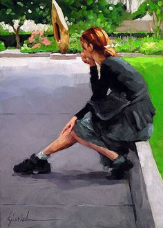 """How Thoughtful"" - Karin Jurick, oil on masonite, 2014 {contemporary #impressionist art woman seated in park painting} karinjurick.com"