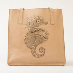 Sea Horse Leather Tote Bag - horse animal horses riding freedom