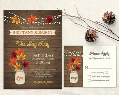 Fall Wedding Invitations Rustic Mason Jar Country Wedding by NotedOccasions | Etsy