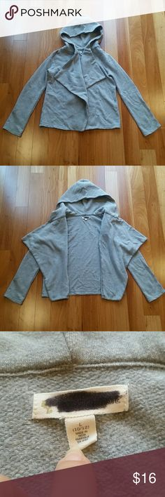 HOODED SWEATER CARDIGAN CARDI GRAY SZ L (10-12) Good condition. Has a black marker on brand label inside but not visible outside. Open front styling .no closure. Size L (10-12)?????? 14 Shirts & Tops Sweatshirts & Hoodies