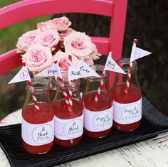 Free printable water labels and straw flags for breast cancer awareness
