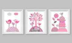 Gray and Pink Nursery Art Girls Room Decor Birds Turtles Flower Tree Kids Playroom Baby Shower 8 x 10 or 11 x 14 Canvas Prints Set of 3