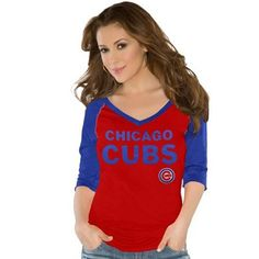 Touch by Alyssa Milano Chicago Cubs Ladies Fly Ball V-Neck T-Shirt - Red/Royal Blue