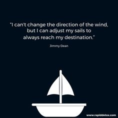 I can't change the direction of the wind, but I can adjust my sails to always reach my destination. #inspiration #motivation #goals #drugabuse #detox #opioids #pivot