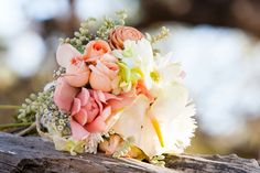 Pastel, but still very tropical wedding bouquet.