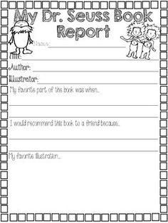 Dr. Seuss Book Report freee