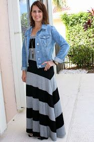 Striped maxi dress jean jacket casual t strap sandals