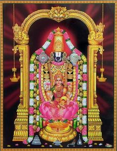 Balaji with Lakshmi (Reprint on Paper with Plastic Lamination - Unframed)