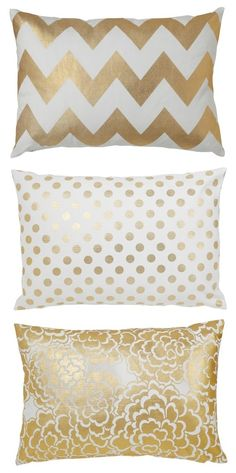 Metallic Gold Accent Pillows
