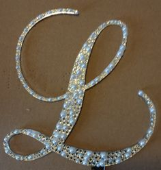 6 Crystal and Pearl Monogram Cake Topper Acrylic by iCreateToppers, $60.00