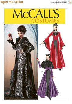 Items similar to McCall's 6818 - Gothic Halloween Costumes - Cosplay - Renaissance, Witch, Steampunk, Vampiress, Dramatic Capes - Size 4 - 12 - UNCUT on Etsy Gothic Halloween Costumes, Halloween Ideas, Halloween Costume Sewing Patterns, Steampunk Halloween, Witch Costumes, Halloween Crafts, Evil Queen Costume, Fancy Dress, Dress Up