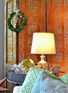 The Elegant Side of Rust - A Rust and Platinum Stenciled Room Divider