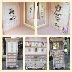 Jessica McClintock jewelry armoire custom painted. Tracey's Fancy