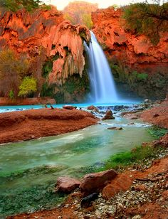 Havasu Falls   Supai, AZ  (South west of the Grand Canyon. Requires permit from the tribe, 10 mile hike)