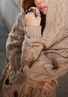Light Brown Sweater Coat - Ribbing At Front/Hem | Clothes ...