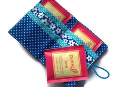 Bright Blue Tea Bag Wallet  Holder for Tea Bags by moodycowdesigns, £6.00