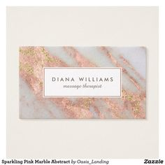Sparkling Pink Marble Abstract Business Card - An elegantly feminine abstract marble pattern in pink and grayish-white with gold glitter sparkle highlights and chic text layout. This business card design works beautifully for many professions: stylish, manicurist, interior design, personal shopper, assistant, office manager, sales, accountant, legal, fashion industry, and more. Sold at Oasis_Landing on Zazzle.