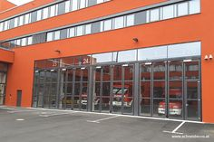 SCHNEIDER Industrial and Commercial Folding Doors aluminium with glass for a firefighter departement Industrial Chic Style, Industrial Door, Folding Doors, Aluminium, Firefighter, Commercial, Farmhouse, Schneider, Glass