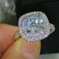 Wish | Classic Dazzling Cushion Cut Cubic Zirconia Topaz Gemstone 18K White Gold Filled Crystal Silver Women's Jewelry Fashion Wedding Engagement Promise Ring for Birdes Gift