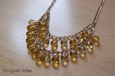 Cousin Creative Circle Ambassador's blog, My Girlish Whims, DIY Amber Dangle Necklace #jewelryinspiration #cousincorp