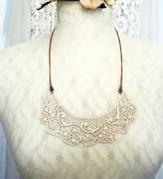 lace necklace COLETTE vintage barely blush by tinaevarenee on Etsy, $34.00