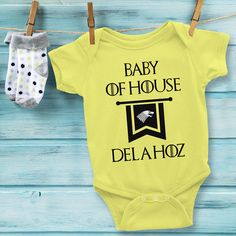 If you or someone you know loves Game of Thrones, you need this custom baby onesie! Personalize this adorable Game of Thrones onesie with your family's Last Name to feel like you are part of the show! No other baby on the block will have the same onesie, plus you can use it as a conversation piece with other GOT fans. This baby onesie would make a perfect baby shower or first birthday gift for a little one whose parents are obsessed with the show. Use coupon code PINFIVE for 5% off!