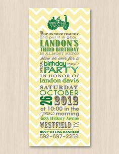 TRACTOR Birthday Printable Invitation by PrintasticDesign on Etsy, $15.00---Hop on your tractor and put it in gear..Isaac Charles is almost here!