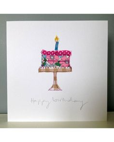 Fabric Cards, Fabric Postcards, Paper Cards, Diy Cards, Handmade Birthday Cards, Card Birthday, Birthday Images, Birthday Quotes, Birthday Greetings
