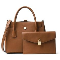 Michael Michael Kors Brown Kors Studio Mercer Large All In One Bag ($358) ❤ liked on Polyvore featuring bags, brown, michael michael kors, michael michael kors bags and brown bag