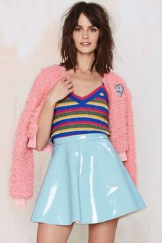 Glamorous Spin Around Vinyl Skirt - Blue - Skirts Skirt Outfits, New Outfits, Fashion Outfits, Sparkly Outfits, Gwen Stefani, Lucy Hale Outfits, Pastel Skirt, Pvc Skirt, Vinyl Skirting